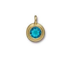TierraCast Gold (plated) Stepped Bezel Charm w/ Blue Zircon Crystal 12x17mm