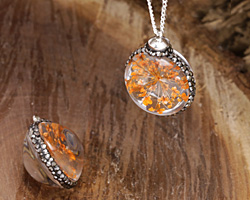 Glass Orb w/ Orange Flower and Pave Crystals 22mm