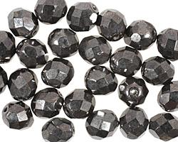 Czech Fire Polished Glass Hematite Round 8mm