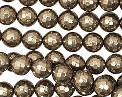 Golden Pyrite (silver tone) Faceted Round 10mm