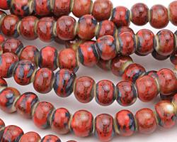 Matador Red w/ Speckles Banded Porcelain Tumbled Rondelle 7x10mm