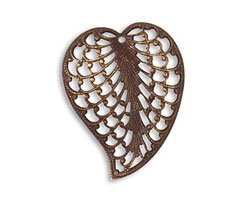 Vintaj Natural Brass Woven Leaf Pendant 23.5x30mm