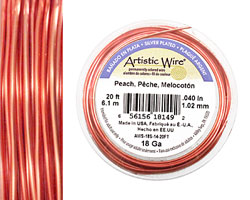 Artistic Wire Silver Plated Peach 18 gauge, 20 feet
