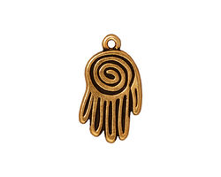 TierraCast Antique Gold (plated) Spiral Hand Pendant 13x22mm