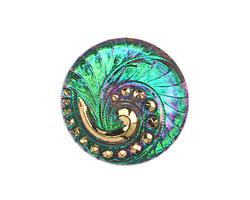 Czech Glass Pink & Green w/ Gold Lunar Spiral Button 27mm