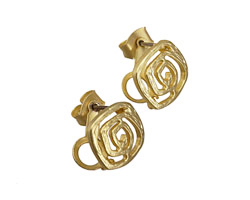 Satin Hamilton Gold (plated) Flat Wired Square Ear Post w/ Loop & Back 11mm