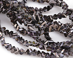 Black Diamond w/ Purple & Hematite Luster Crystal Faceted Chevron 2x4mm