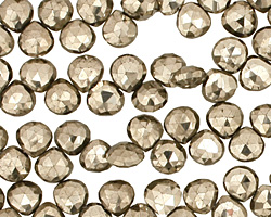 Golden Pyrite (silver tone) Faceted Flat Teardrop 6-7mm