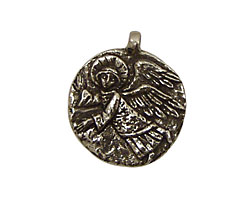 Green Girl Pewter Guardian Angel 22x25mm