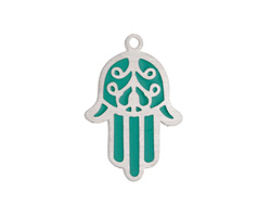 Turquoise Enamel Stainless Steel Hamsa Focal 17x25mm