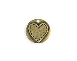 Vintaj Antique Brass (plated) Stitched Heart Blank 20mm