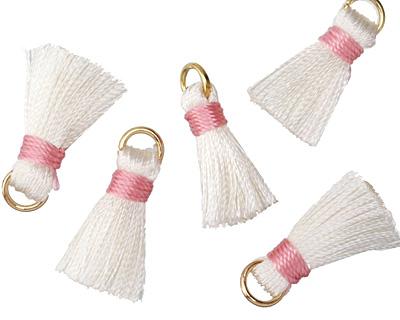 White w/ Pink Binding & Jump Ring Thread Tassel 17mm