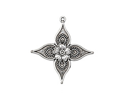 Zola Elements Antique Silver (plated) Starfruit Blossom Pendant 32x34mm