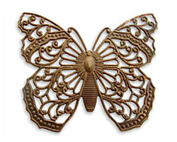 Vintaj Natural Brass Filigree Butterfly Pendant 46x38mm