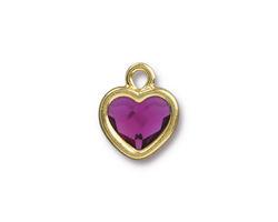 TierraCast Gold (plated) Heart Drop w/ Fuchsia Crystal 13x16mm