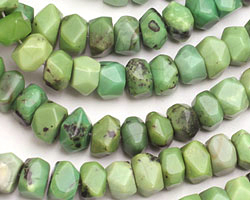 China Chrysoprase Faceted Irregular Wheel 7x10-12mm
