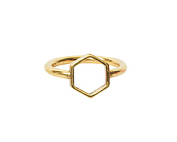 Nunn Design Antique Gold (plated) Open Frame Itsy Hex Ring Size 7