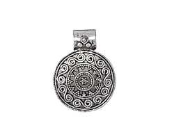 Zola Elements Antique Silver (plated) Bali Style Domed Scrolling Pendant 23x30mm