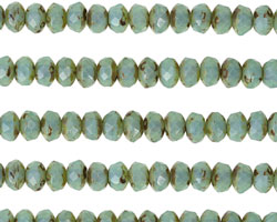 Czech Glass Blue Opal Picasso Fire Polished Rondelle 3x5mm