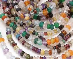 Multi Gemstone (Amethyst, Aquamarine, Carnelian, Citrine, Rock Crystal) Faceted Rondelle 3-4x4mm