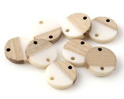 Wood & Alabaster Resin Coin Link Focal 15mm