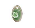 Bottle Green Crackle Porcelain Waterlily Teardrop Focal 17x27mm