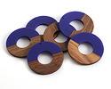 Walnut Wood & Royal Blue Resin Donut Focal 45mm