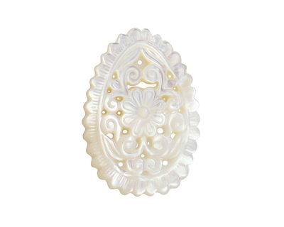 Mother of Pearl Floral Filigree Carved Teardrop Focal 25x35mm
