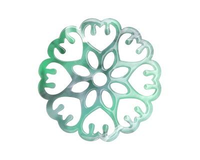 Zola Elements Emerald Marbled Acetate Floral Openwork Mandala Focal 40mm