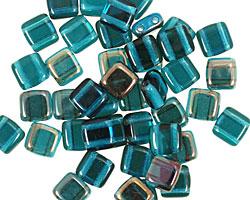 CzechMates Glass Twilight Capri Blue 2-Hole Tile 6mm