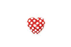 Grace Lampwork Red w/ White Dots Heart 19-20mm