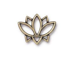TierraCast Antique Brass (plated) Open Lotus Link 23x19mm