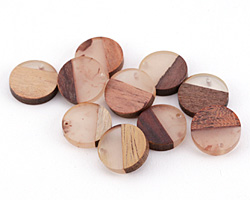 Wood & Natural Resin Coin Focal 18mm