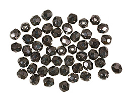 Czech Fire Polished Glass Gunmetal Round 4mm