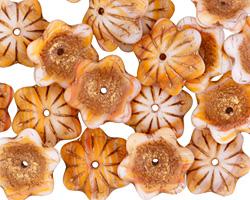 Czech Glass Mango Smoothie w/ Bronzed 6 Petal Flower 6x13mm