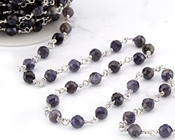 Iolite Faceted Round 6mm Silver Finish Bead Chain