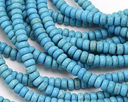 Turquoise Blue Magnesite Rondelle 6mm