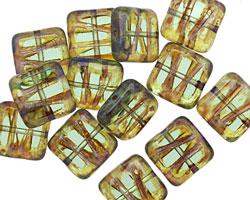 Czech Glass Transparent Sunshine Picasso Carved Square 10mm