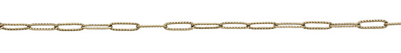 Antique Brass (plated) Textured Long Oval Cable Chain