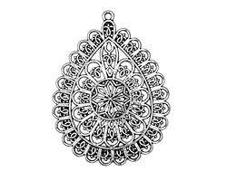 Zola Elements Antique Silver (plated) Filigree Teardrop Pendant 45x59mm