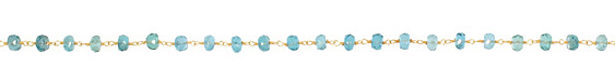 Apatite Faceted Rondelle Gold (plated) Bead Chain