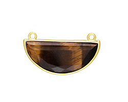Tiger Eye Faceted Half Moon w/ Gold Finish Bezel Focal Link 32x18mm