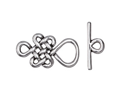 Zola Elements Antique Silver (plated) Infinity Knot Toggle Clasp 24x13mm, 18mm bar