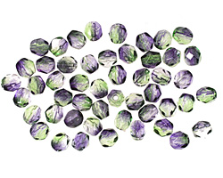 Czech Fire Polished Glass Dual Coated Blueberry/Green Tea Round 4mm