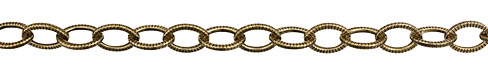 Antique Gold (plated) Large Flat Oval Etched Cable Chain