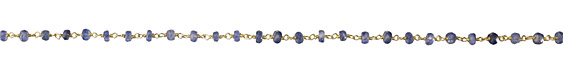 Kyanite Faceted Rondelle 4mm Gold (plated) Bead Chain