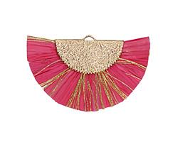 Hot Pink w/ Metallic Gold Fringed Raffia Focal 45x27mm