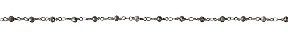 Hematite Crystal 4mm Antique Silver (plated) Bead Chain