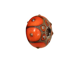 Grace Lampwork Coral w/ Metal Dots Rondelle 9x14mm