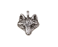 Green Girl Pewter Wolf Pendant 18x19mm
